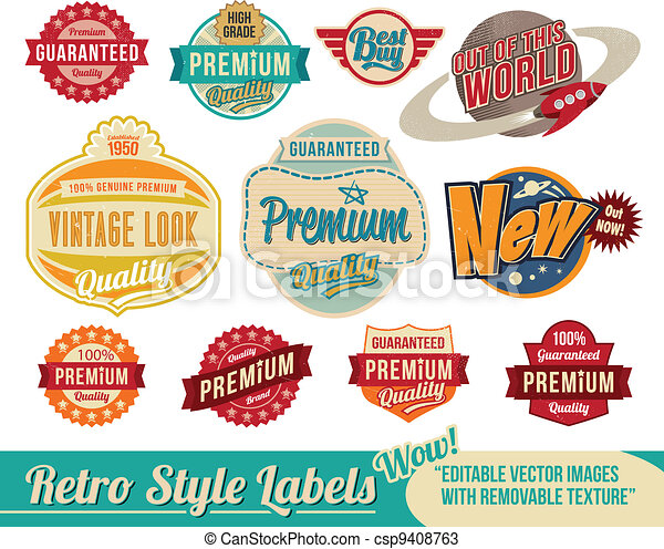 vendange, étiquettes, retro, étiquettes - csp9408763