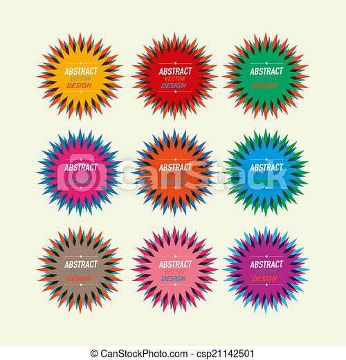 vendange, étoile, coloré, cachets - csp21142501
