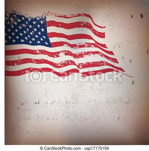 vendange, américain, textured, drapeau, arrière-plan. - csp17170159