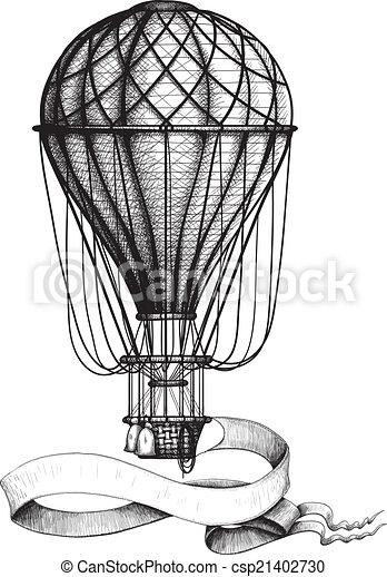vendange, balloon, bannière, air chaud - csp21402730