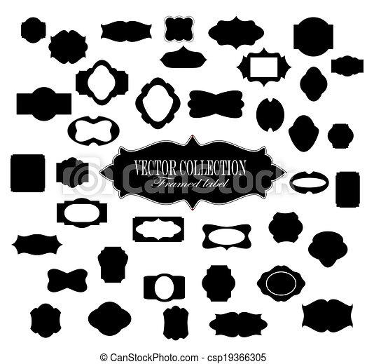 vendange, cadre, étiquette, vecteur, fond, blanc - csp19366305
