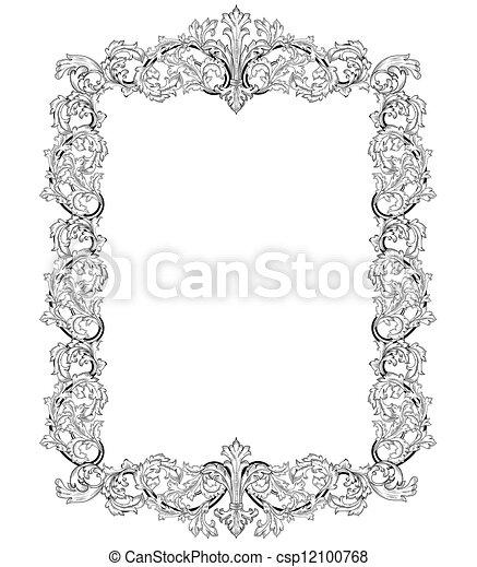 Vendange, Cadre, Style, Baroque Vecteur