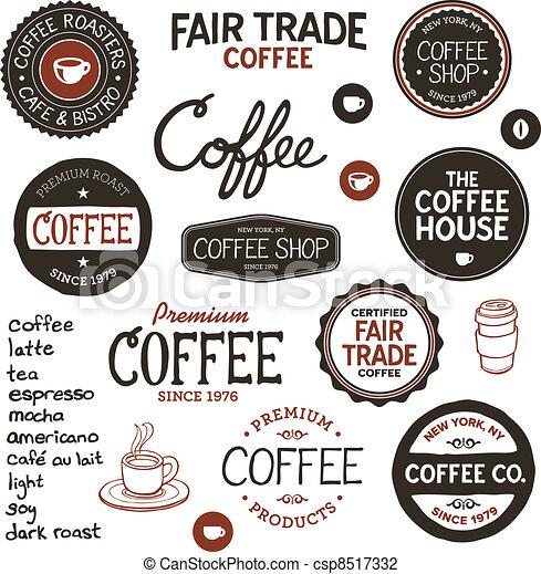 vendange, café, étiquettes, lettrage - csp8517332