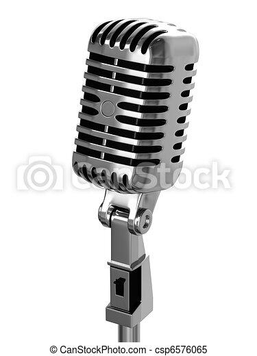 vendange, chrome-plaqué, microphone - csp6576065