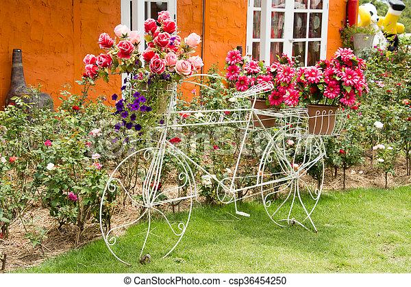Vendange, décor, fleur, vélo, jardin.