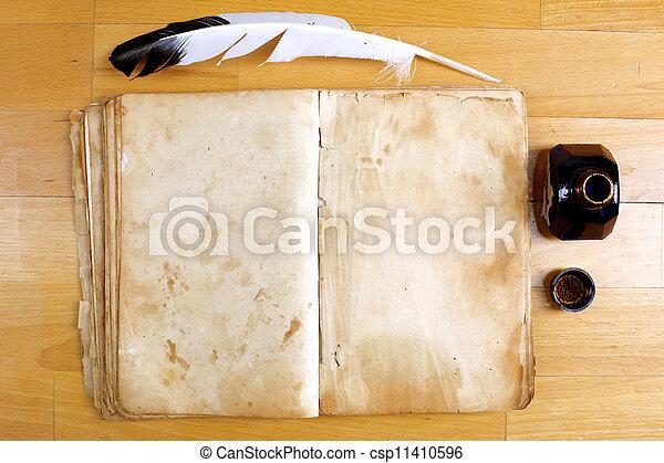 vendange, encrier, stylo, livre, table, message, plume - csp11410596