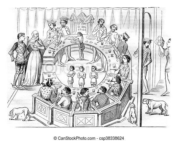 Vendange engraving table ronde chevaliers clip art rechercher illustration dessins - Dessin anime chevalier de la table ronde ...