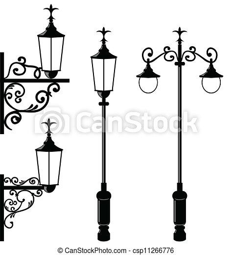 vendange, ensemble, divers, streetlamp - csp11266776