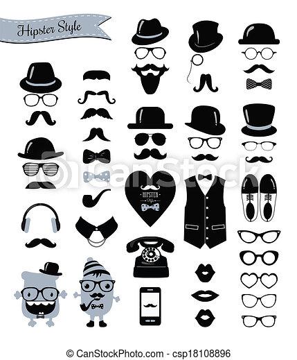 vendange, ensemble, hipster, retro, icône - csp18108896