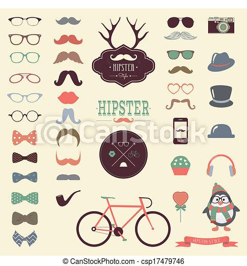 vendange, ensemble, hipster, retro, icône - csp17479746