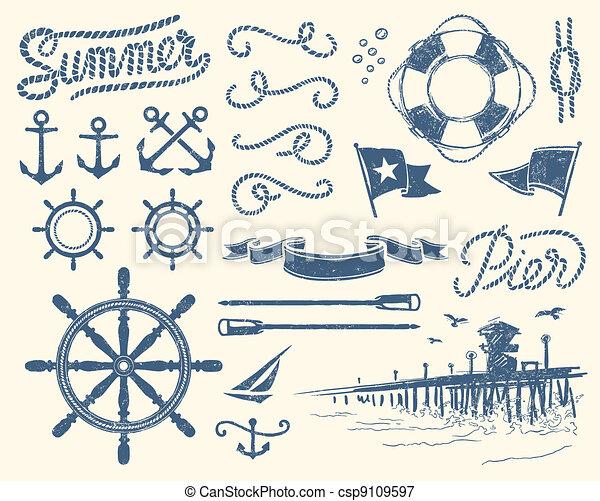 vendange, ensemble, nautique - csp9109597