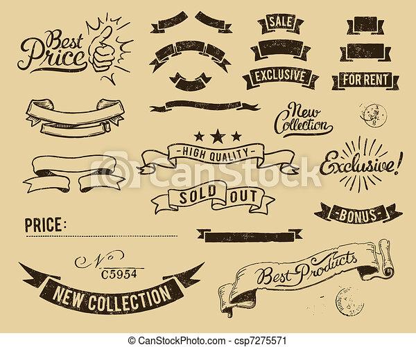 vendange, ensemble, vente, icônes - csp7275571