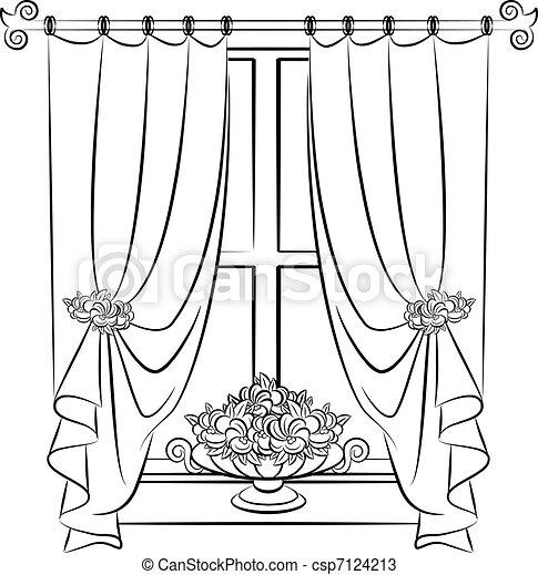 vendange flowers rideau vendange flowers vecteur vecteurs search clip art. Black Bedroom Furniture Sets. Home Design Ideas