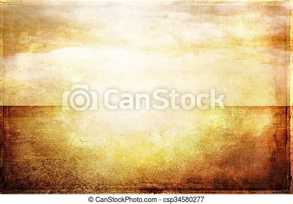 vendange, image, ciel, lumière soleil, mer, grungy - csp34580277