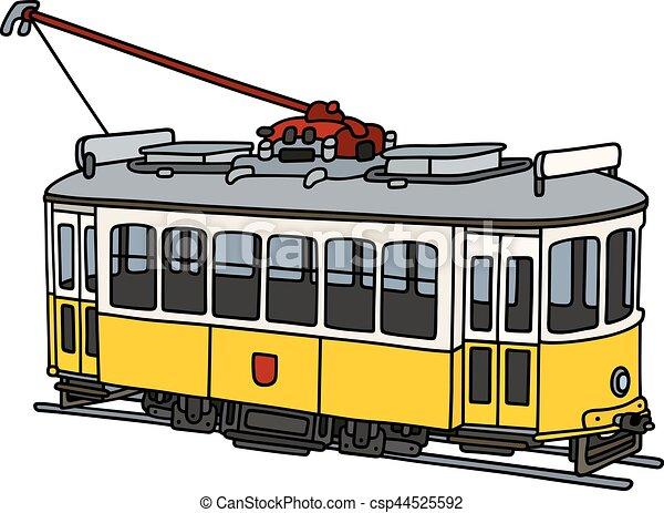 Vendange jaune tramway vieux lectrique jaune main tramway blanc dessin - Dessin tramway ...