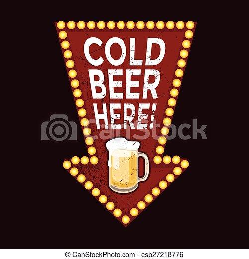 vendange, métal, ici, signe, bière, froid - csp27218776
