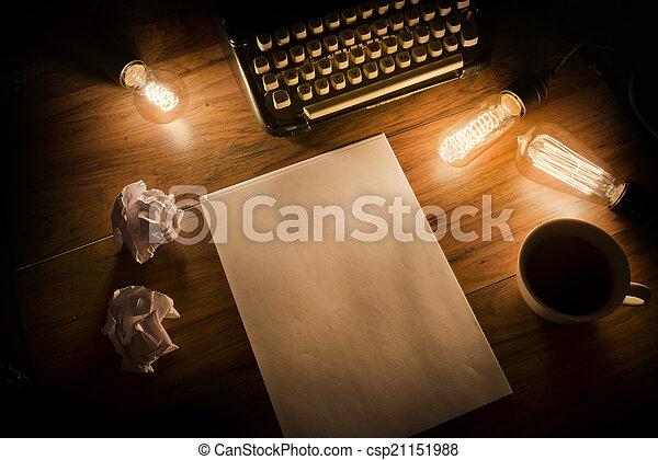 vendange, machine écrire, bureau - csp21151988