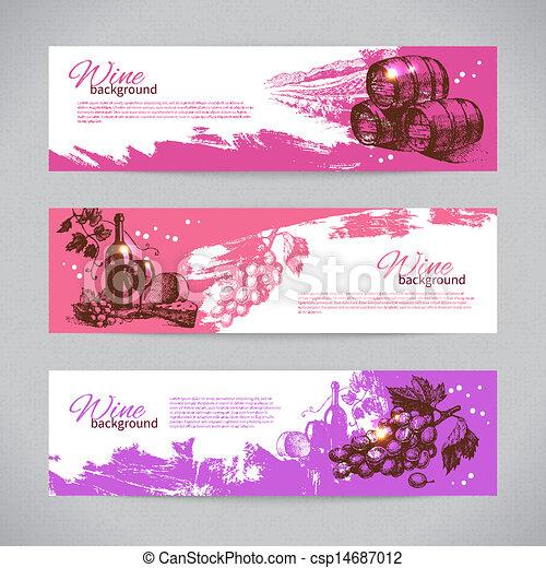 vendange, main, arrière-plan., illustrations, dessiné, bannières, vin - csp14687012
