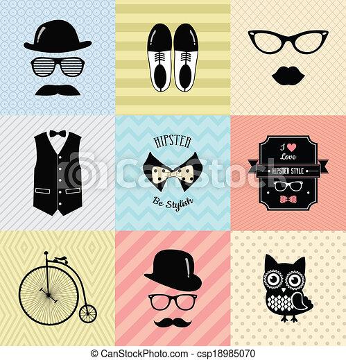 vendange, mode, hipster, fond, mignon - csp18985070