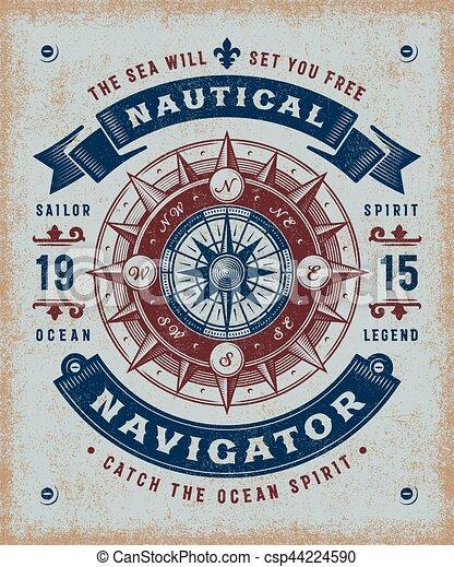 vendange, navigateur, typographie, nautique - csp44224590