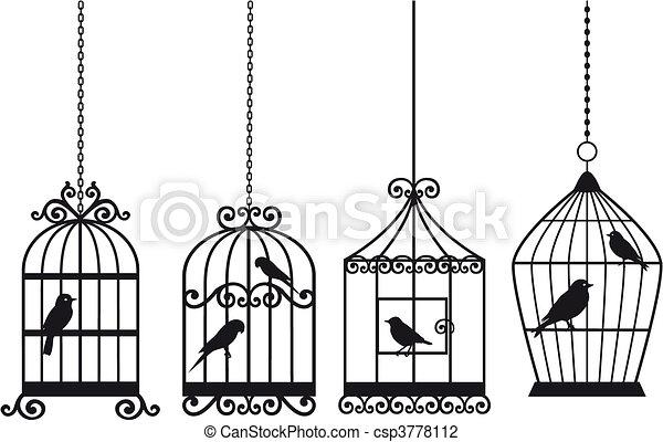 Dessin Oiseau En Cage vendange, oiseaux, cages oiseaux. décoratif, oiseaux, ensemble
