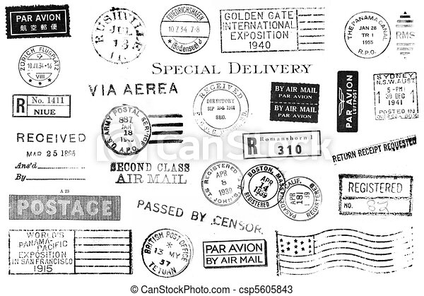 vendange, postal, ensemble, marques - csp5605843