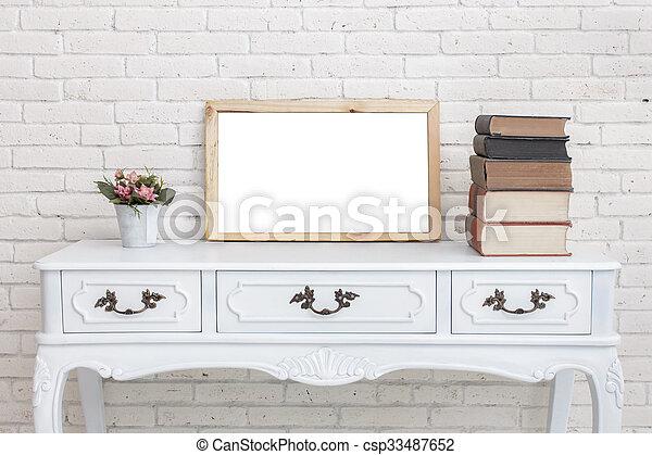 Vendange Pot Fleurs Blanches Livres Bureau Table Planche Pile