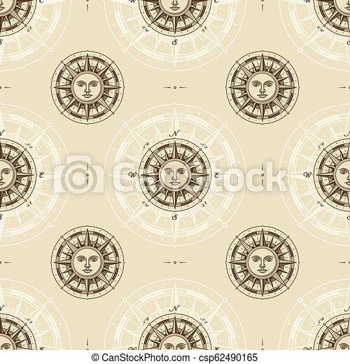 vendange, rose, compas, seamless, soleil, modèle - csp62490165