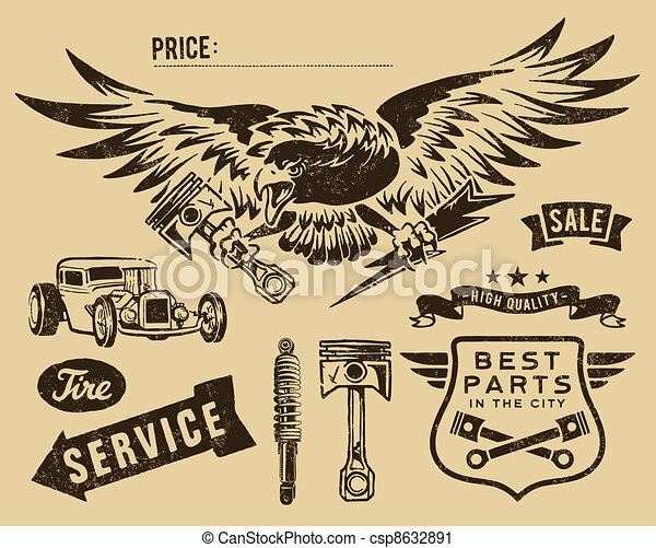 vendange, ruban, pistons - csp8632891