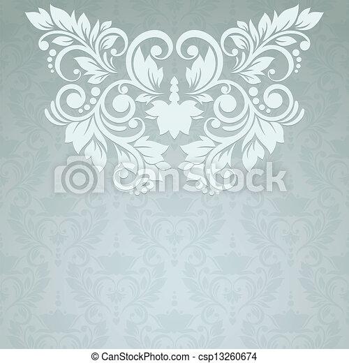 vendange, seamless, élégant, fond, floral, carte, (background - csp13260674
