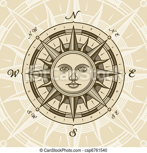 vendange, soleil, rose, compas - csp6761540