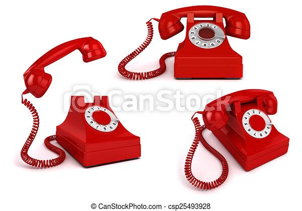 vendange, téléphone, fond, blanc rouge, 3d - csp25493928
