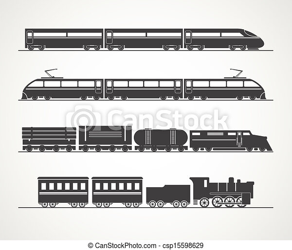 vendange, train, moderne, silhouette, collection - csp15598629