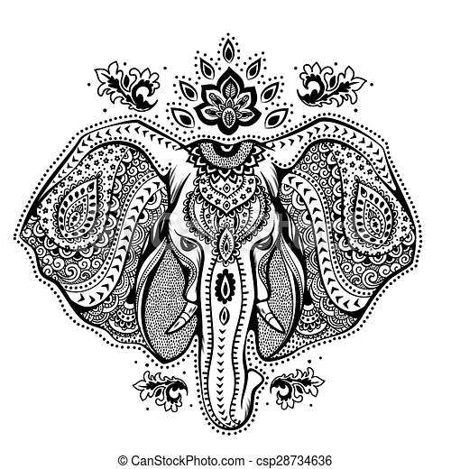 Vendange tribal illustration indien ornements l phant tre utilis vendange salutation - Elephant indien dessin ...
