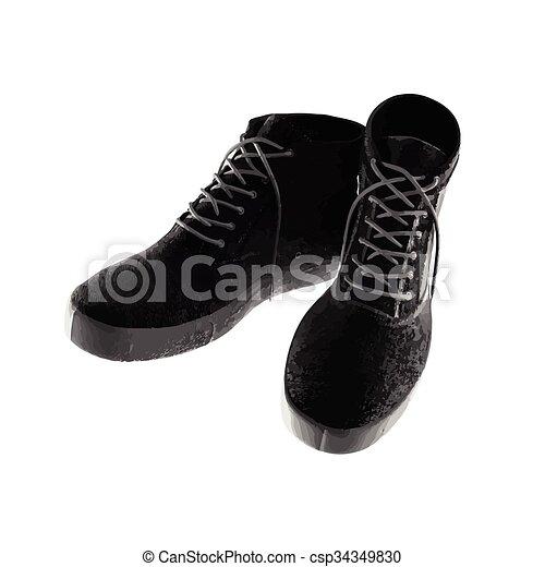 vendange, vecteur, noir, chaussures - csp34349830