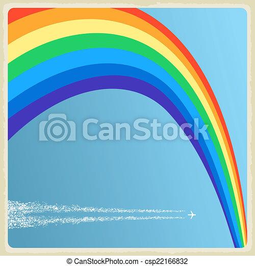 vendange, vecteur, rainbow., fond, avion - csp22166832