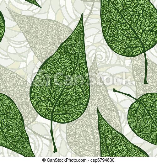 vendange, vecteur, vert, seamless, pousse feuilles - csp6794830