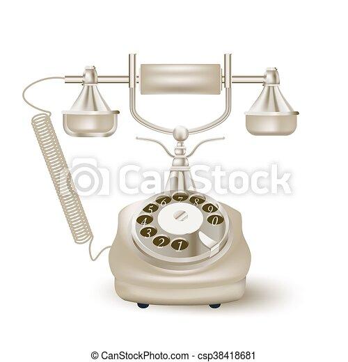 vendange, vecteur, white., illustration, téléphone - csp38418681