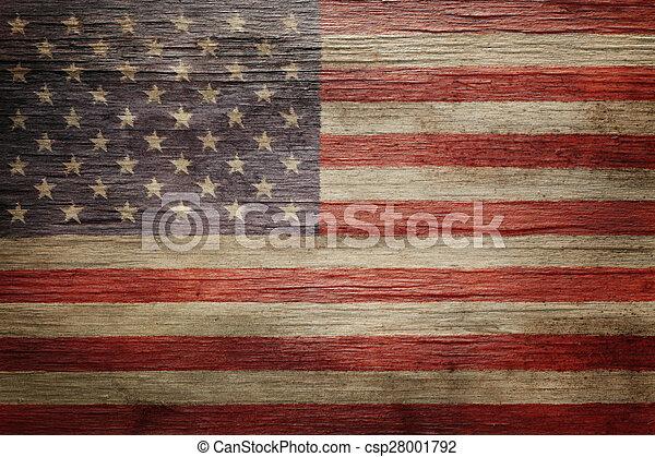 vendemmia, bandiera americana, fondo, portato - csp28001792