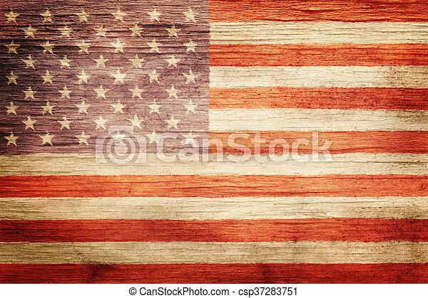 vendemmia, bandiera americana, fondo, portato - csp37283751