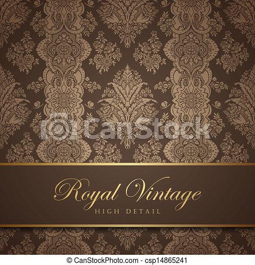 vendemmia, carta da parati, pattern., fondo., floreale, fiorire, design. - csp14865241