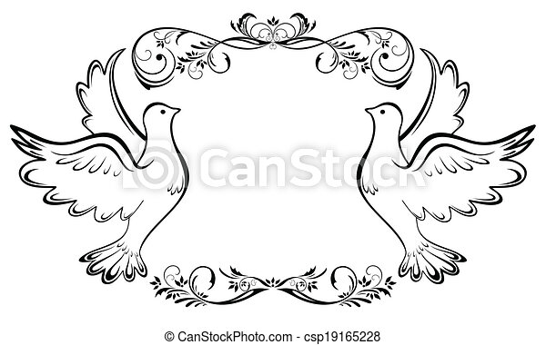 vendemmia, cornice, matrimonio - csp19165228
