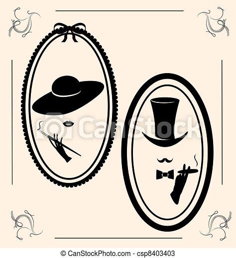 vendemmia, donna, cappello - csp8403403