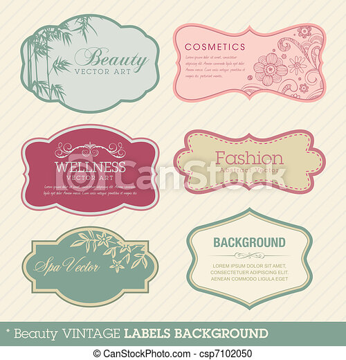 vendemmia, fondo, bellezza, etichette - csp7102050