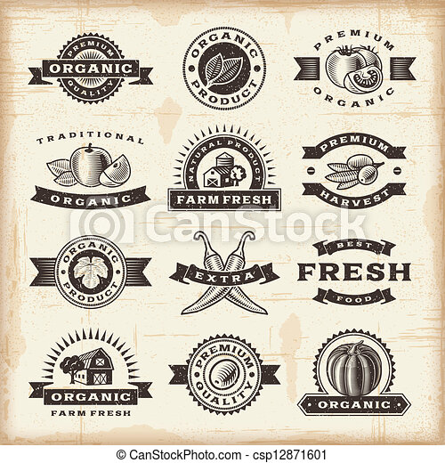 vendemmia, francobolli, set, raccogliere, organico - csp12871601
