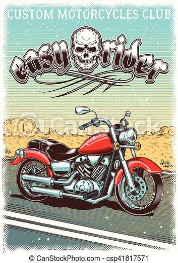 vendemmia, hand-drawn, grunge, motocicletta, fondo - csp41817571