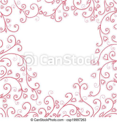 vendemmia, hearts., sfondo rosso - csp19997263