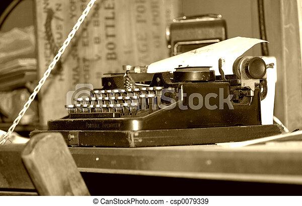 vendemmia, macchina scrivere - csp0079339