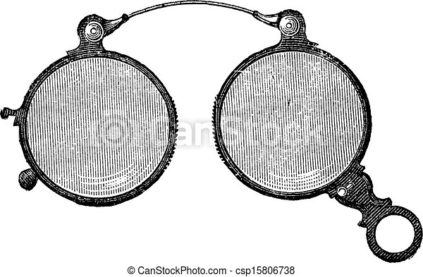vendemmia, occhiali, clip, naso, ha, rotondo, engraving. - csp15806738