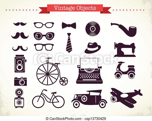 vendemmia, oggetti, hipster, collezione - csp13730429